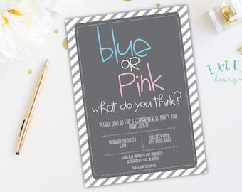 Gender Reveal Invitation, Blue or Pink Gender Reveal Invite, DIY Printable