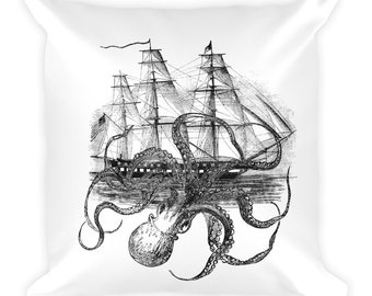 Kraken Octopus attacking ship Square Pillow