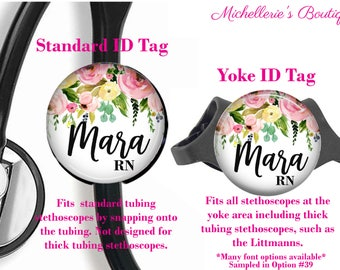 Floral Personalized Stethoscope ID tag, Personalized Stethoscope Name Tag, Monogram Stethoscope Name Tag, Stethoscope Name ID Tag, MB458