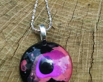 Pink and Black glass Pendant