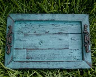 Decorative / Serving Tray - Aqua Distressed with Black Glaze Topcoat
