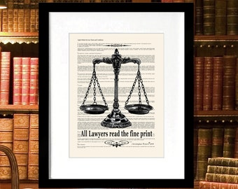 "Lawyer Print - ""All Lawyers read the Fine Print"" - 8.5""x11"", Lawyer Gift, Scales of Justice, Pass the Bar gift, Lawyer Office Decor"