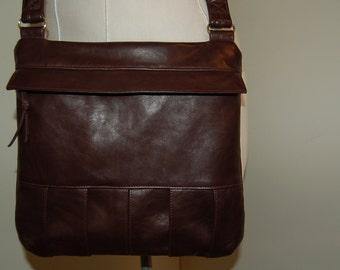 Handmade Genuine Leather Dark Brown Purse With Beautiful Pleated Bottom Bag  Handbag Messenger Bag
