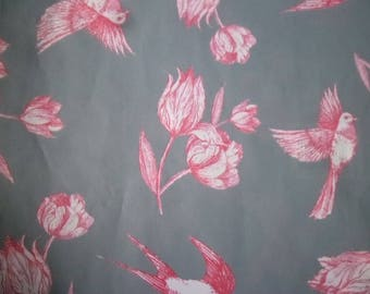 x 2 sheets of paper decopatch gray pattern flower/bird red/white 40 x 30 cm (649)
