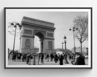 Arc de Triomphe, Arch of Triumph, Paris, France, Cityscape, Urban, Wall Decor, Printable Art, Black and White, Photograph, Living Room