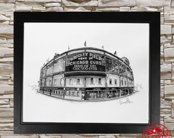 Wrigley field Art Print B&W 16x20