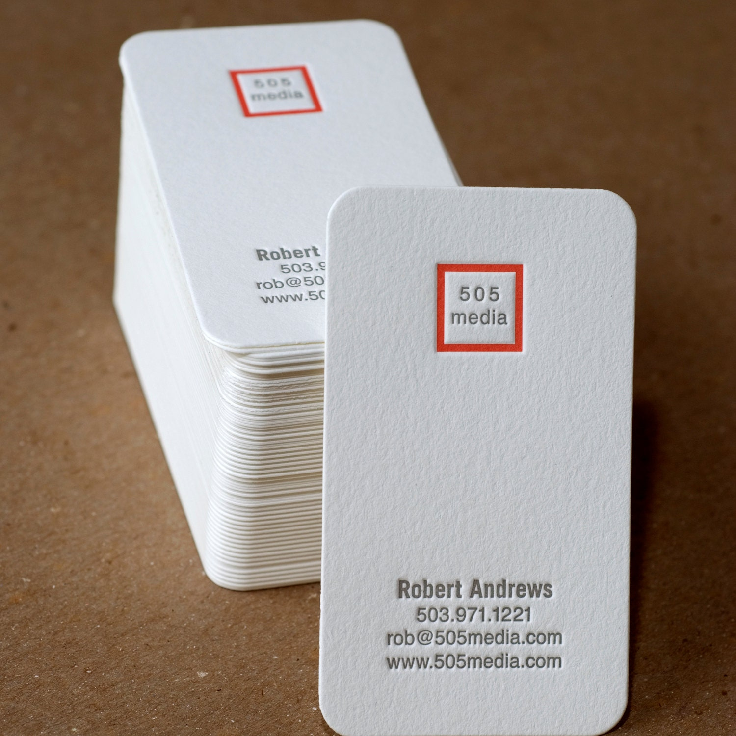 Letterpress Business Card Set : Modern Square Personalized