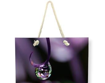 Purple Canvas Weekender Bag, Beach BAG, Shoulder Bag, Overnight Bag, Lavender Flower Travel Bag, Nature Carry On Bag, Large Canvas Bag