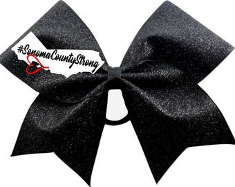 SonomaStrong black glitter  cheer bow