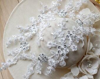 Alencon Lace Applique/Lace Wedding Dress/Boho Wedding Dress/Bridal applique/Bridal Headpiece/Prom Dress Applique priced by pair ALA-27