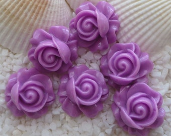 Resin Rose Swirl Cabochon - 16mm - 12 pcs - Orchid