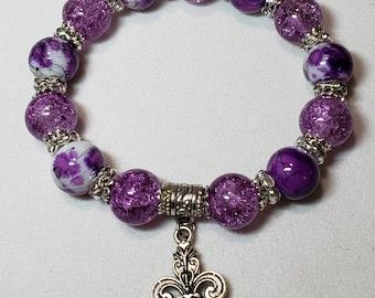 Purple fleur-de-lis bracelet