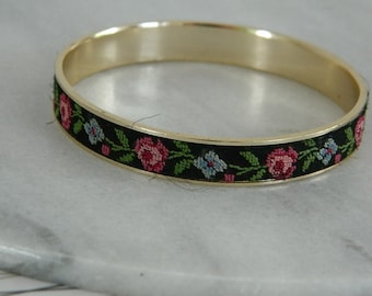 Vintage 1960s Petite Point Embroidery Bangle
