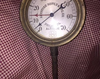 Antique Steam Gauge Keystone Supply & MFG CO Philadelphia