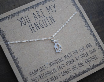 READY TO SHIP . You are my penguin necklace . silver layering necklace . Penguin gift for girlfriend gift for wife . Anniversary Gift