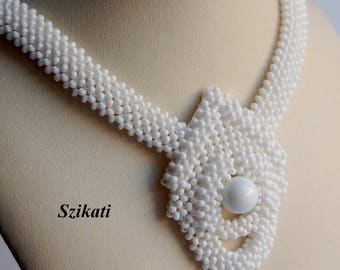 Beaded Necklace, White Bridal Necklace, Statement Beadwoven Necklace, Beadwork, RAW, Wedding Jewelry, Women's Accessory, Gift for Her, OOAK