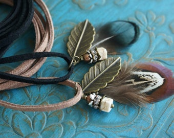 "Boho Jewelry ""Along With the Wind"", Beachy Feather Brown Leather Wrap Bracelet Choker Necklace Armband Anklet Festival Hair Accessory Gift"