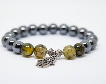 Men's Bracelet, Hematite Bracelet, Hamsa Bracelet, Mens Beaded Bracelet, Gemstone Bracelet for Men, Boyfriend Gift, Fiance gift for him