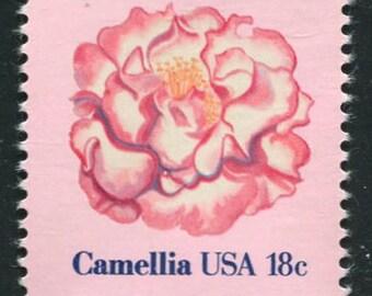 Pink Camellia Flower Stamps  /4 Unused Postage Stamps/ Camellia Flowers Stamps