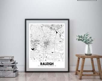 Raleigh street map Etsy