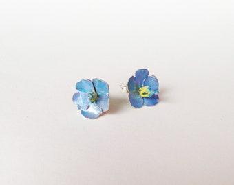 Flower Earrings Studs -Flux- Sterling Silver Enamel