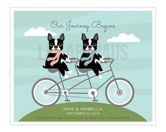 200P Bicycle Print - Our Journey Begins Boston Terriers On Tandem Bicycle Wall Art - Dog Lover Gift - Inspirational Art - Dog Lover gift