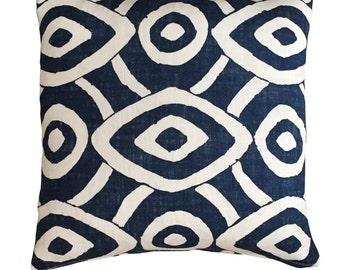 William Yeoward - Indigo Blue Tribal print Square pillow