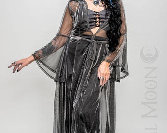 "NEW Limited Edition: The ""Egyptian Queen"" Priestess Cloak with Amulet on Hood in SILVER by Opal Moon Designs (Sizes S or M)"