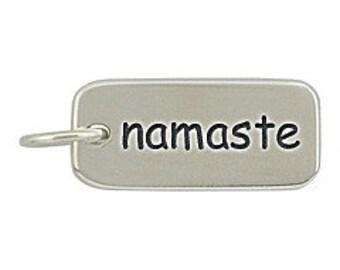 Namaste Sterling Silver Word Charm Namaste Pendant