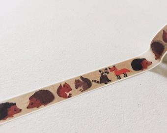 Woodland Animals Washi Tape, Fox Planner Washi, Hedgehog /Squirrel / Raccoon Washi, Decorative Tape, Crafting Tape, Planner Supplies