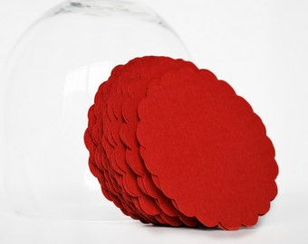 Circle Die Cut, Red scalloped circles (3.0 Inches) Textured Cardstock A34
