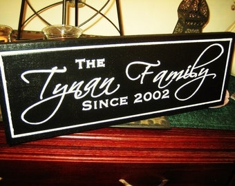 Personalized Painted Family Name Sign Custom Made Just for you.  Makes a great wedding or anniversary gift