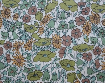 SALE - Liberty tana lawn printed in Japan - Poppy and  Daisy - Camel khaki mix