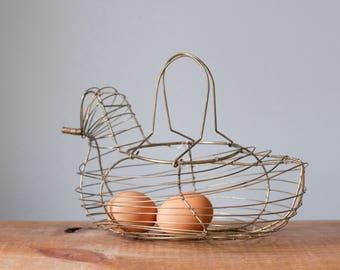 Charming Vintage Wire Hen Basket | Farmhouse Decor Chicken Egg Holder