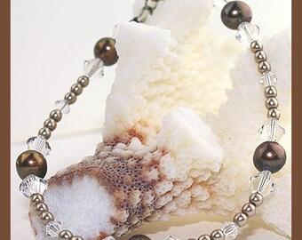 Cafe au Lait Freshwater Pearl & Swarovski Crystal Beaded Bracelet, Pearl Bracelet, SRAJD