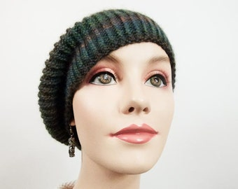 Hand Knit Hat - Slouchy Cloche in Forest Colors- Size Adult Sm/Med -Item 1245