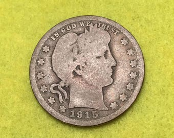 1915-D Barber Quarter Original  <> Coin you see is Coin you get / Free S&H on this order  <>#BCE-548