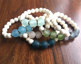 "Sea Glass and Wood ""Maya"" Bracelet"