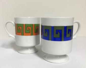 2 Vintage Pedestal Mugs With Greek Meander Pattern