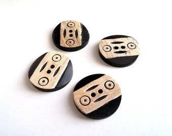 4 Carved Round Bone Button Tribal 25mm