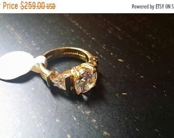 CLEARANCE SALE 90% OFF Vintage Estate Cz 14Kt gold  over .925  Sterling Silver Signed Stamped Ring Size 5