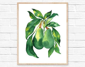 avocado watercolor avocado watercolor avocado print watercolor avocado avocado art kitchen art avocado painting wall art painting fruit art