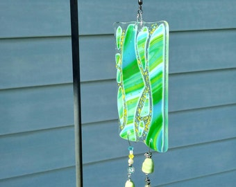 Fused glass- garden decor- home decor - glass art - green - blue- yellow - swirl - wind chime - bead art- fused glass sun catcher - glass