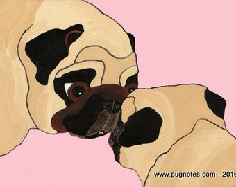 Pug Print - Guidance - Mother Pug & Puppy