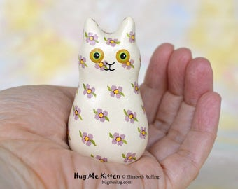 Handmade Kitty Cat Figurine, Miniature Sculpture, Cream, Lavender Floral, Hug Me Kitten, Animal Totem Charm Figure, Personalized Tag