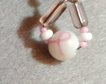 Pink and White Breast Cancer Awareness Earrings and/or Bracelet