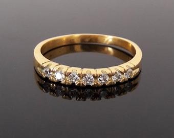 Stacking Ring Gemstone april birthstone ring clear quartz zirconia ring half eternity ring mothers ring 7 seven stone ring