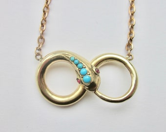 Antique Victorian Ouroboros Snake Necklace 14k. Infinity. Endless Love.