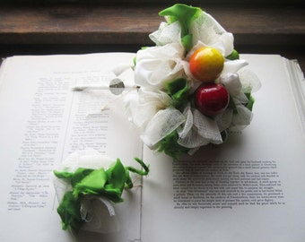 Vintage Fabric Wedding Bouquet * Millinery and Vintage Fruit * Vintage wedding * Celebration Bouquets * Matching Buttonhole