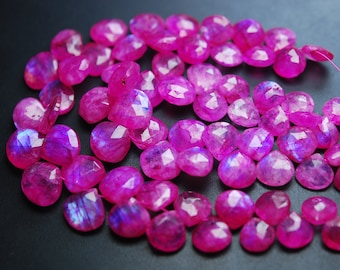 6 Inch Strand,PInk RAINBOW Moonstone Faceted Heart Shape,10-13mm Size,